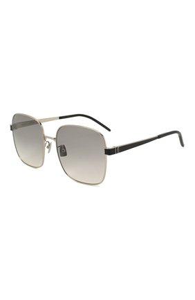 Женские солнцезащитные очки SAINT LAURENT светло-серого цвета, арт. SL M75 003 | Фото 1 (Тип очков: С/з; Очки форма: Квадратные)