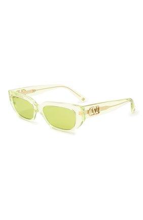 Женские солнцезащитные очки VALENTINO желтого цвета, арт. 4080-5165/2   Фото 1 (Тип очков: С/з; Очки форма: Узкие)