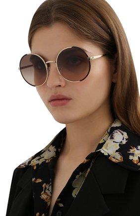 Женские солнцезащитные очки PRADA золотого цвета, арт. 59XS-K0F3D0 | Фото 2