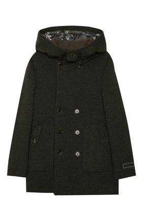 Детское шерстяное пальто DOLCE & GABBANA хаки цвета, арт. L41C96/G7XLH/8-14 | Фото 1