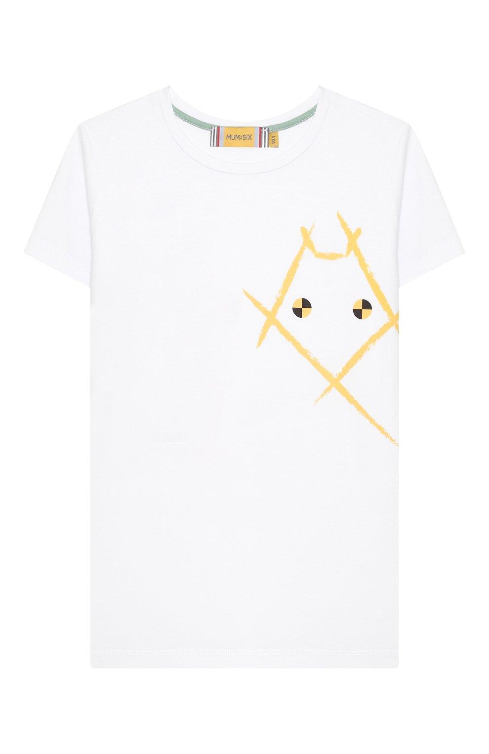 Детская хлопковая футболка MUMOFSIX белого цвета, арт. MOS20WTP_18 | Фото 1