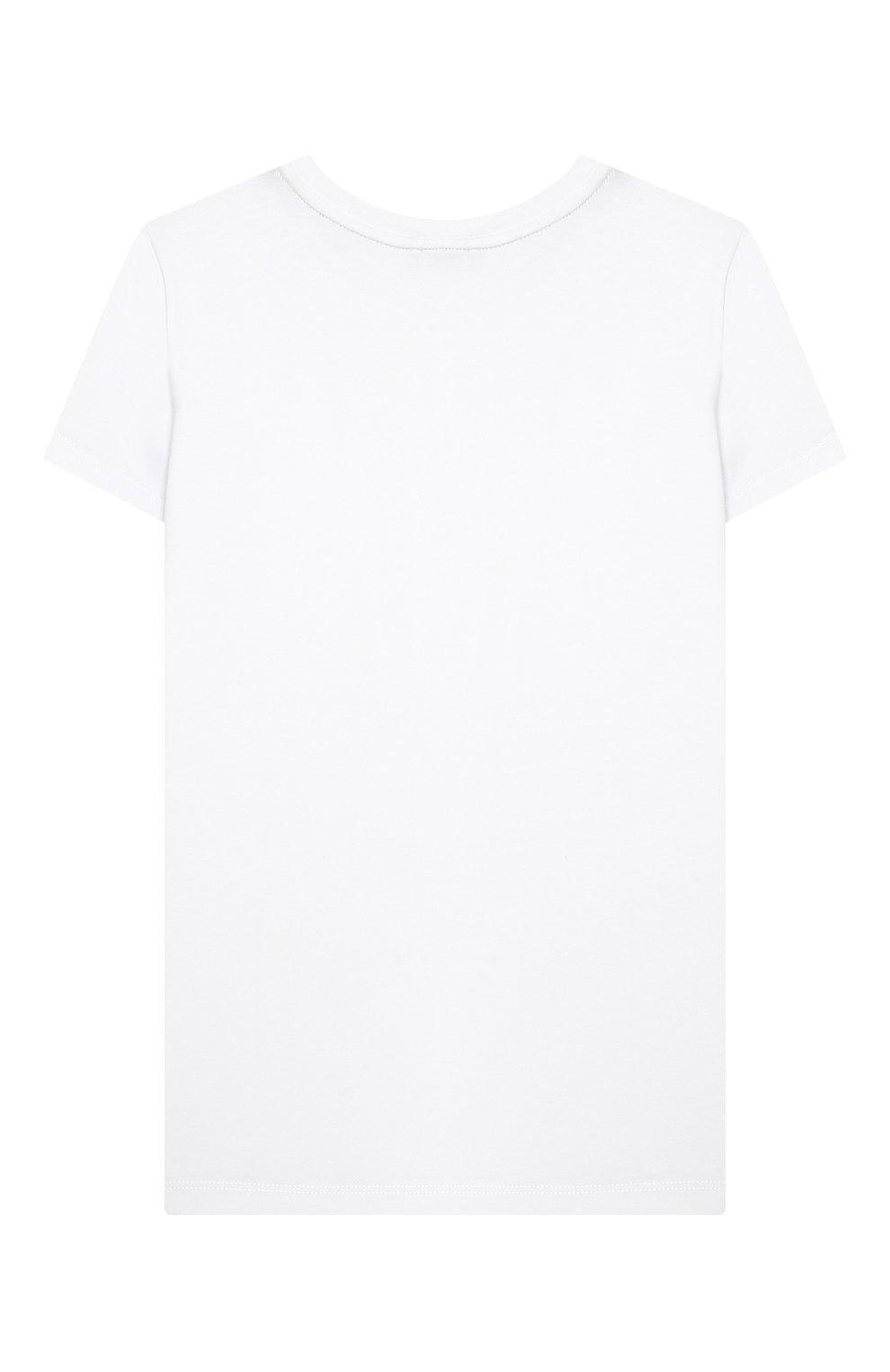 Детская хлопковая футболка MUMOFSIX белого цвета, арт. MOS20WTP_18 | Фото 2