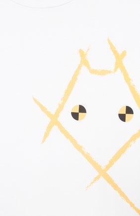 Детская хлопковая футболка MUMOFSIX белого цвета, арт. MOS20WTP_18 | Фото 3