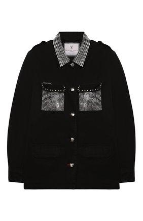 Детская джинсовая куртка PHILIPP PLEIN черного цвета, арт. F20C GRA0070 PTE003N | Фото 1