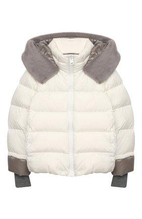 Детского пуховая куртка HERNO белого цвета, арт. PI0085G/12004/4A-8A | Фото 1