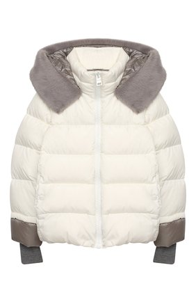 Детского пуховая куртка HERNO белого цвета, арт. PI0085G/12004/10A-14A | Фото 1