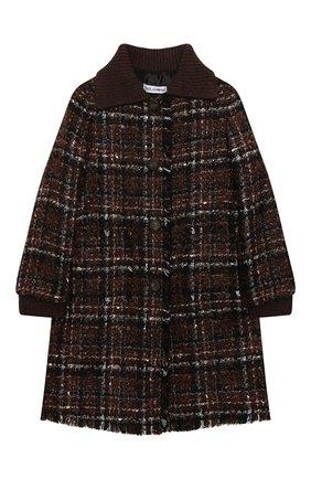 Детское твидовое пальто DOLCE & GABBANA коричневого цвета, арт. L53C93/FQMHD/8-14 | Фото 1