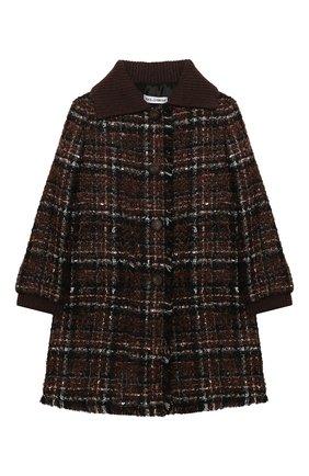 Детское твидовое пальто DOLCE & GABBANA коричневого цвета, арт. L53C93/FQMHD/2-6 | Фото 1