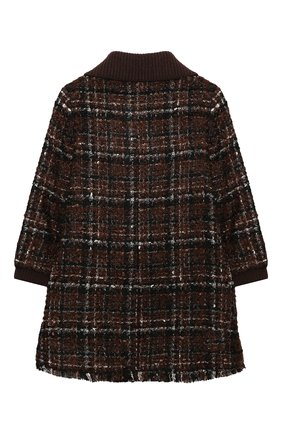 Детское твидовое пальто DOLCE & GABBANA коричневого цвета, арт. L53C93/FQMHD/2-6 | Фото 2