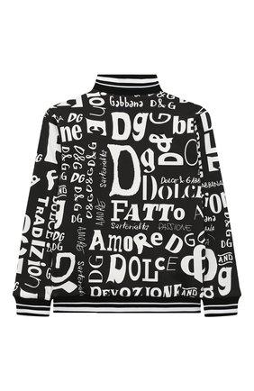 Детский хлопковая толстовка DOLCE & GABBANA черно-белого цвета, арт. L4JW3Q/HS7D7/8-14 | Фото 2