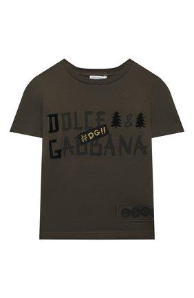 Детская хлопковая футболка DOLCE & GABBANA хаки цвета, арт. L4JTBL/G7X0E/2-6 | Фото 1 (Материал внешний: Хлопок; Рукава: Короткие; Ростовка одежда: 2 года | 92 см, 3 года | 98 см, 4 года | 104 см, 5 лет | 110 см, 6 лет | 116 см)