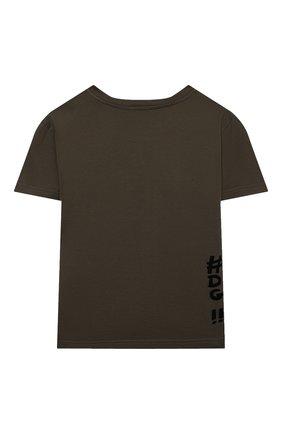 Детская хлопковая футболка DOLCE & GABBANA хаки цвета, арт. L4JTBL/G7X0E/2-6 | Фото 2 (Материал внешний: Хлопок; Рукава: Короткие; Ростовка одежда: 2 года | 92 см, 3 года | 98 см, 4 года | 104 см, 5 лет | 110 см, 6 лет | 116 см)