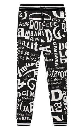 Детские хлопковые джоггеры DOLCE & GABBANA черно-белого цвета, арт. L4JPR7/HS7D7/8-14 | Фото 1