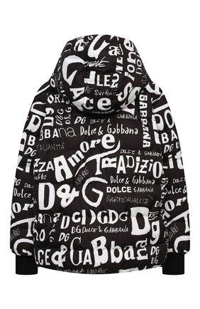 Детского пуховая куртка DOLCE & GABBANA черно-белого цвета, арт. L4JB0J/FSSES/8-14 | Фото 2