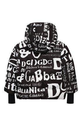 Детского пуховая куртка DOLCE & GABBANA черно-белого цвета, арт. L4JB0J/FSSES/2-6 | Фото 2