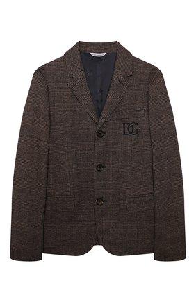 Детский пиджак из хлопка и шерсти DOLCE & GABBANA коричневого цвета, арт. L41E77/G7XJV/8-14 | Фото 1