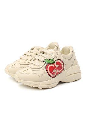 Детские кожаные кроссовки GUCCI белого цвета, арт. 611809/DRW00 | Фото 1