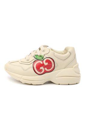 Детские кожаные кроссовки GUCCI белого цвета, арт. 611809/DRW00 | Фото 2