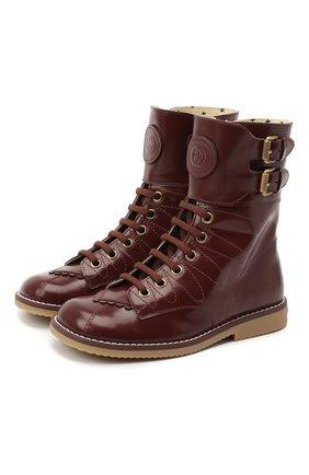 Детские кожаные ботинки GUCCI бордового цвета, арт. 628440/D7300 | Фото 1