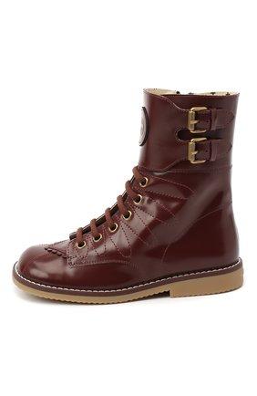 Детские кожаные ботинки GUCCI бордового цвета, арт. 628440/D7300 | Фото 2