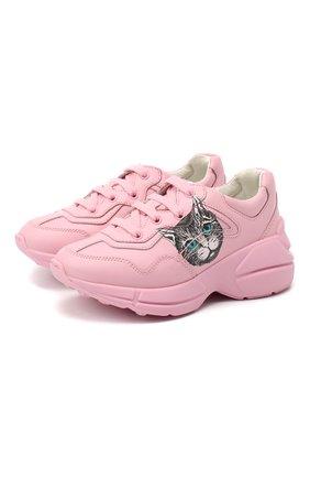 Детские кожаные кроссовки GUCCI розового цвета, арт. 629619/DRW00 | Фото 1