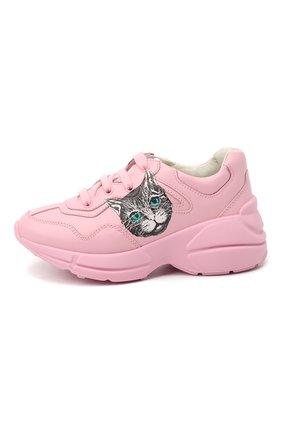 Детские кожаные кроссовки GUCCI розового цвета, арт. 629619/DRW00 | Фото 2