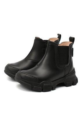 Детские кожаные ботинки GUCCI черного цвета, арт. 629738/DTN50 | Фото 1