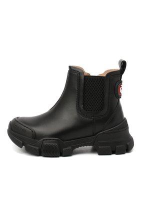 Детские кожаные ботинки GUCCI черного цвета, арт. 629738/DTN50 | Фото 2