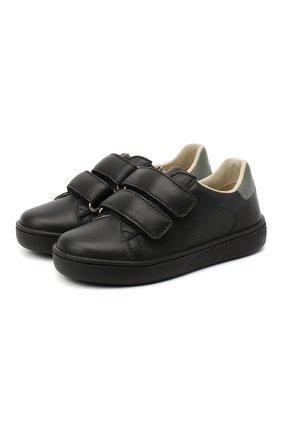 Детские кожаные кеды GUCCI черного цвета, арт. 630287/BLN70 | Фото 1