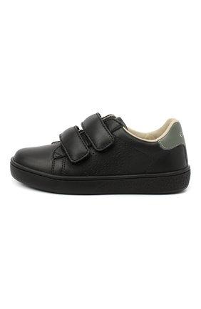 Детские кожаные кеды GUCCI черного цвета, арт. 630287/BLN70 | Фото 2