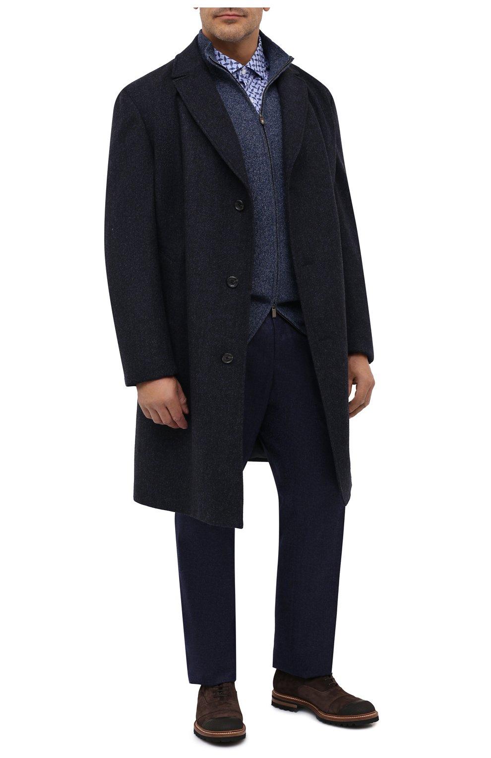 Мужские шерстяные брюки LUCIANO BARBERA темно-синего цвета, арт. 104136/25233/58-62   Фото 2