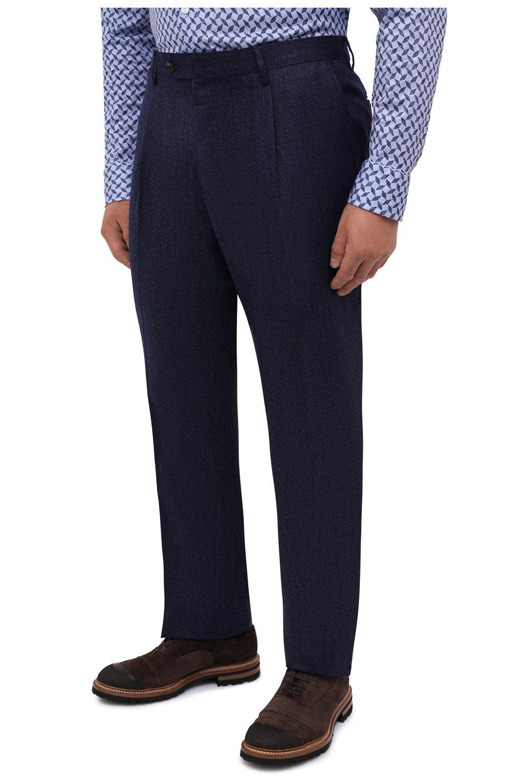 Мужские шерстяные брюки LUCIANO BARBERA темно-синего цвета, арт. 104136/25233/58-62   Фото 3