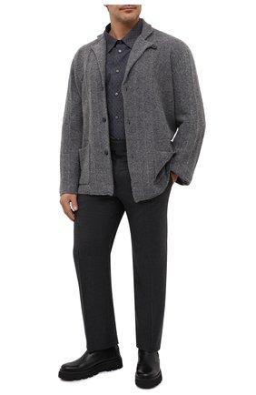Мужская хлопковая рубашка BRIONI серого цвета, арт. SCDS0L/09032 | Фото 2