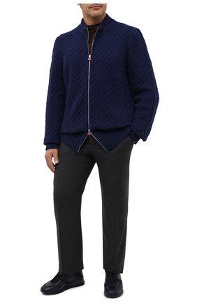 Мужская кашемировый кардиган KITON синего цвета, арт. UK12069/4XL-8XL   Фото 2