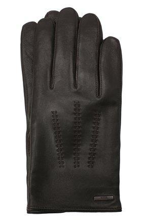 Мужские кожаные перчатки BOSS коричневого цвета, арт. 50437119 | Фото 1