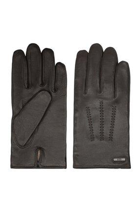 Мужские кожаные перчатки BOSS коричневого цвета, арт. 50437119 | Фото 2