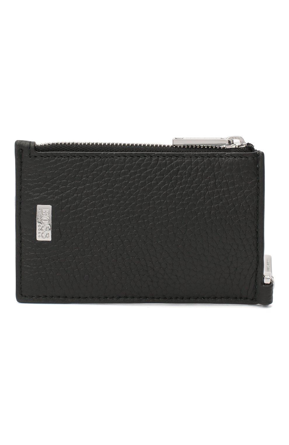 Мужской кожаный футляр для кредитных карт BOSS черного цвета, арт. 50437544 | Фото 1
