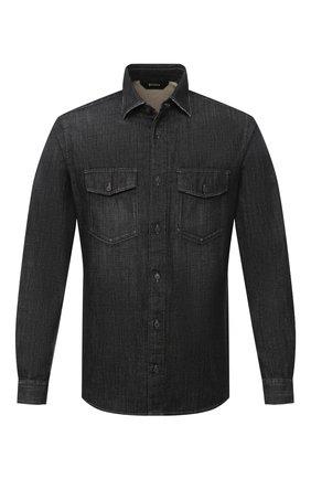 Мужская джинсовая рубашка Z ZEGNA черного цвета, арт. 805403/ZCRN5 | Фото 1