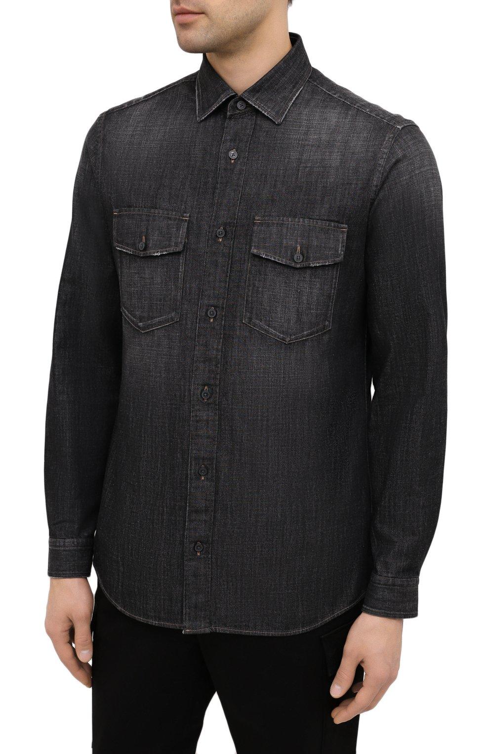 Мужская джинсовая рубашка Z ZEGNA черного цвета, арт. 805403/ZCRN5 | Фото 3