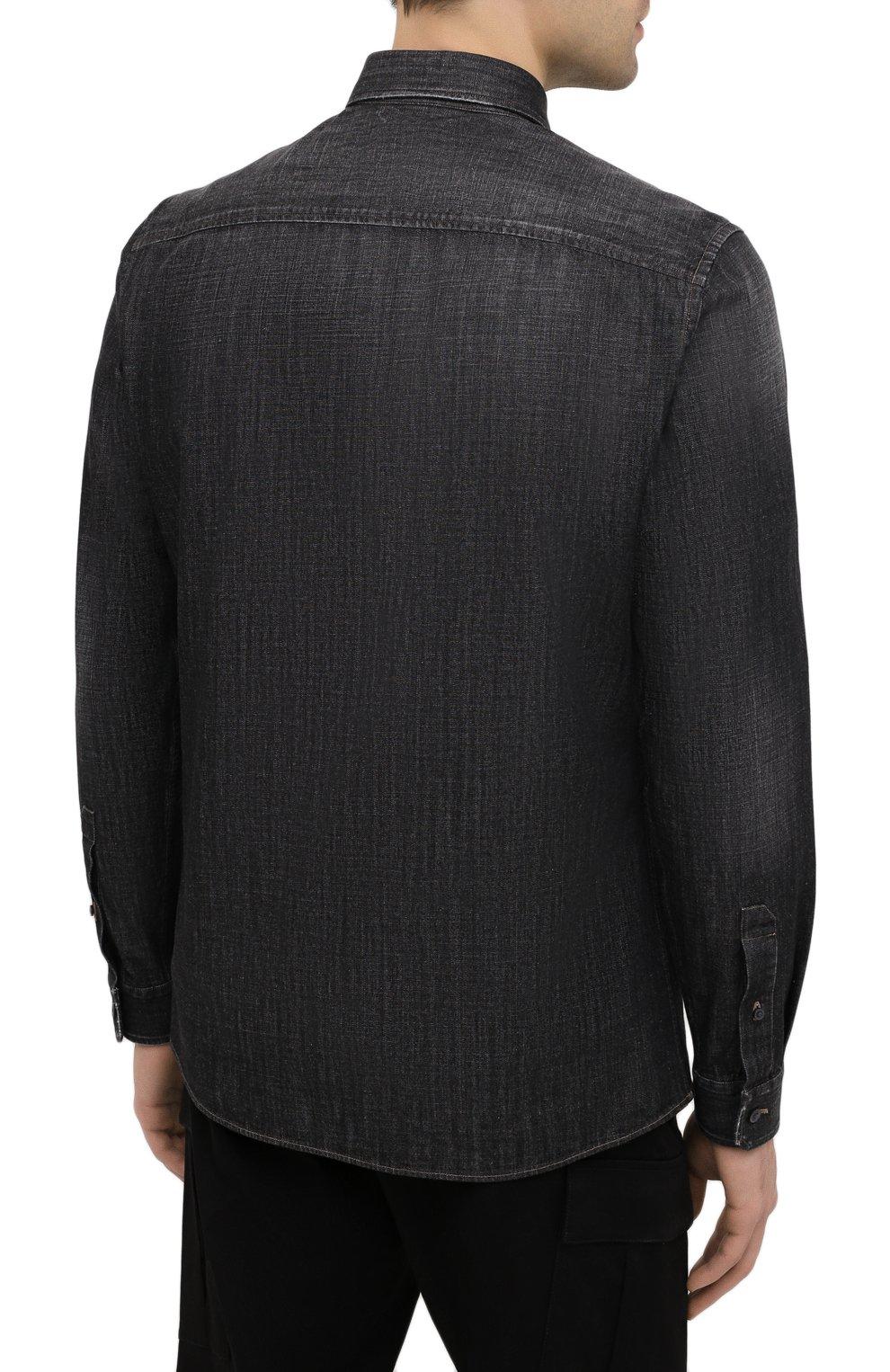 Мужская джинсовая рубашка Z ZEGNA черного цвета, арт. 805403/ZCRN5 | Фото 4