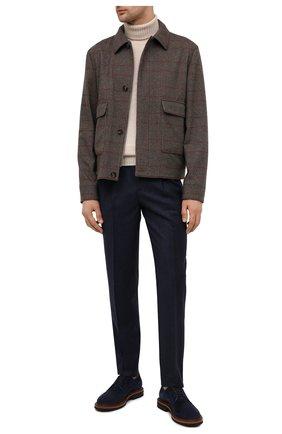 Мужские шерстяные брюки BRUNELLO CUCINELLI темно-синего цвета, арт. ME244E1920 | Фото 2 (Материал внешний: Шерсть; Материал подклада: Вискоза; Длина (брюки, джинсы): Стандартные; Случай: Повседневный; Стили: Кэжуэл)