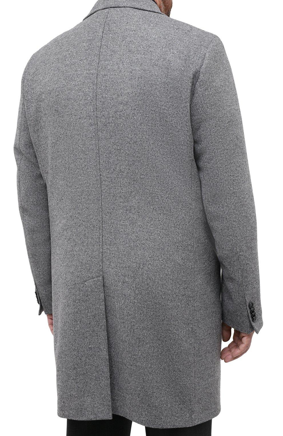 Мужской пальто из шерсти и кашемира EDUARD DRESSLER серого цвета, арт. 800200/76194 | Фото 4