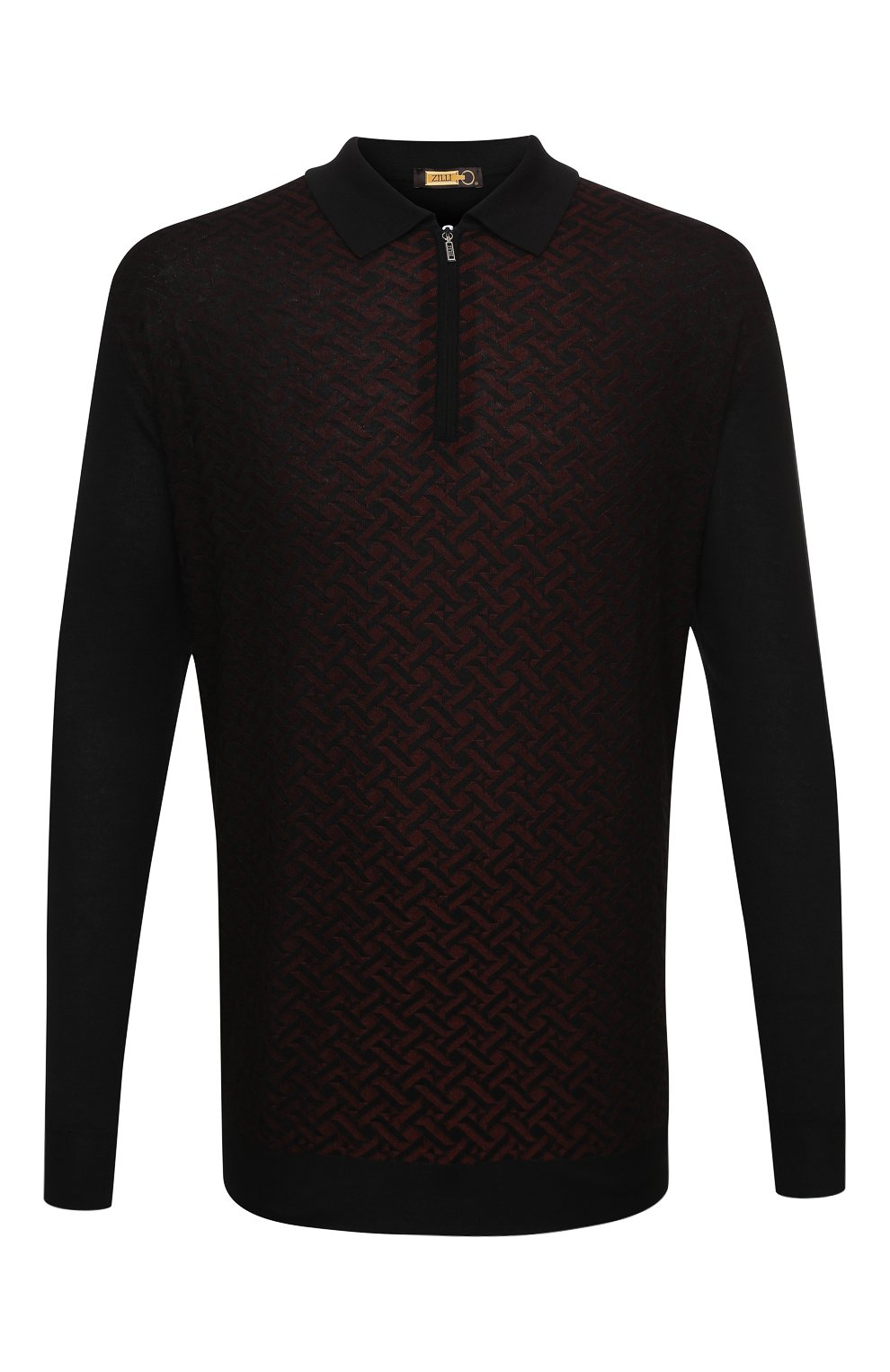 Мужское поло из кашемира и шелка ZILLI черного цвета, арт. MBU-PZ102-VASP1/ML01   Фото 1