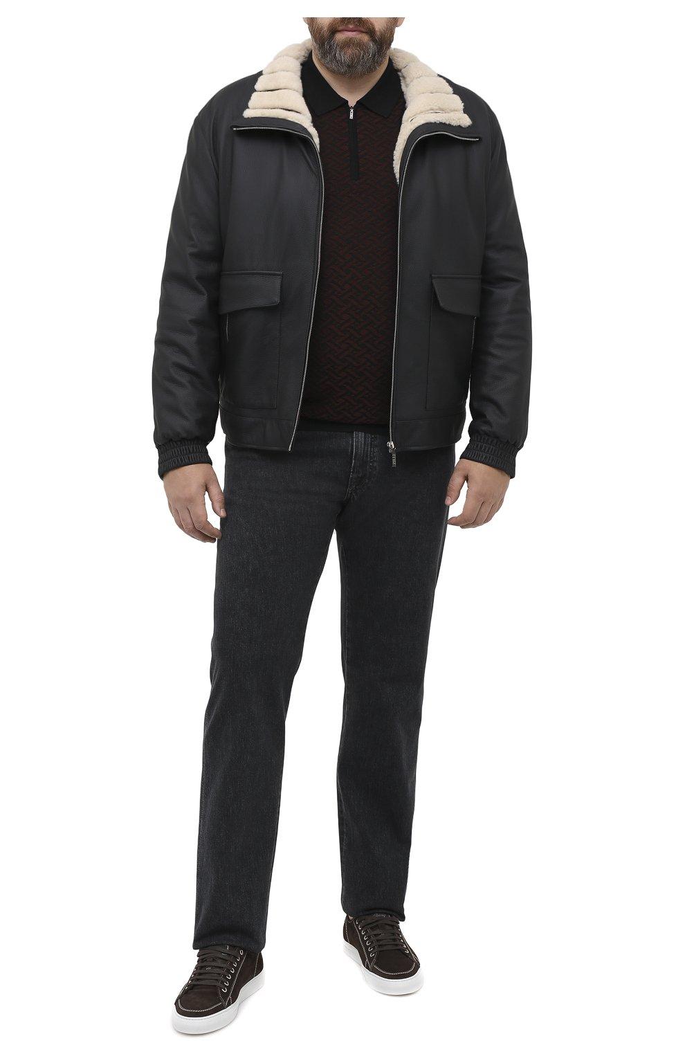 Мужское поло из кашемира и шелка ZILLI черного цвета, арт. MBU-PZ102-VASP1/ML01   Фото 2