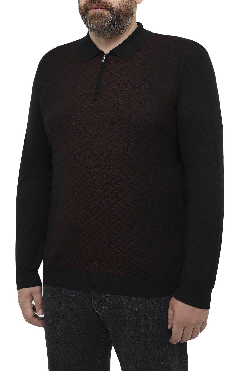 Мужское поло из кашемира и шелка ZILLI черного цвета, арт. MBU-PZ102-VASP1/ML01   Фото 3