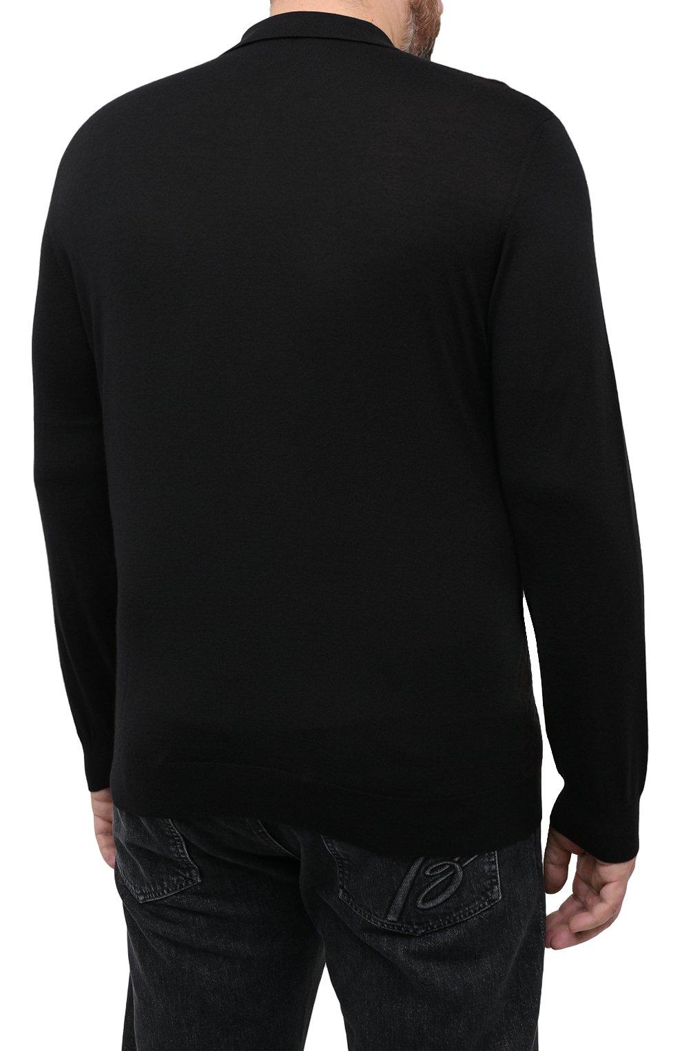 Мужское поло из кашемира и шелка ZILLI черного цвета, арт. MBU-PZ102-VASP1/ML01   Фото 4