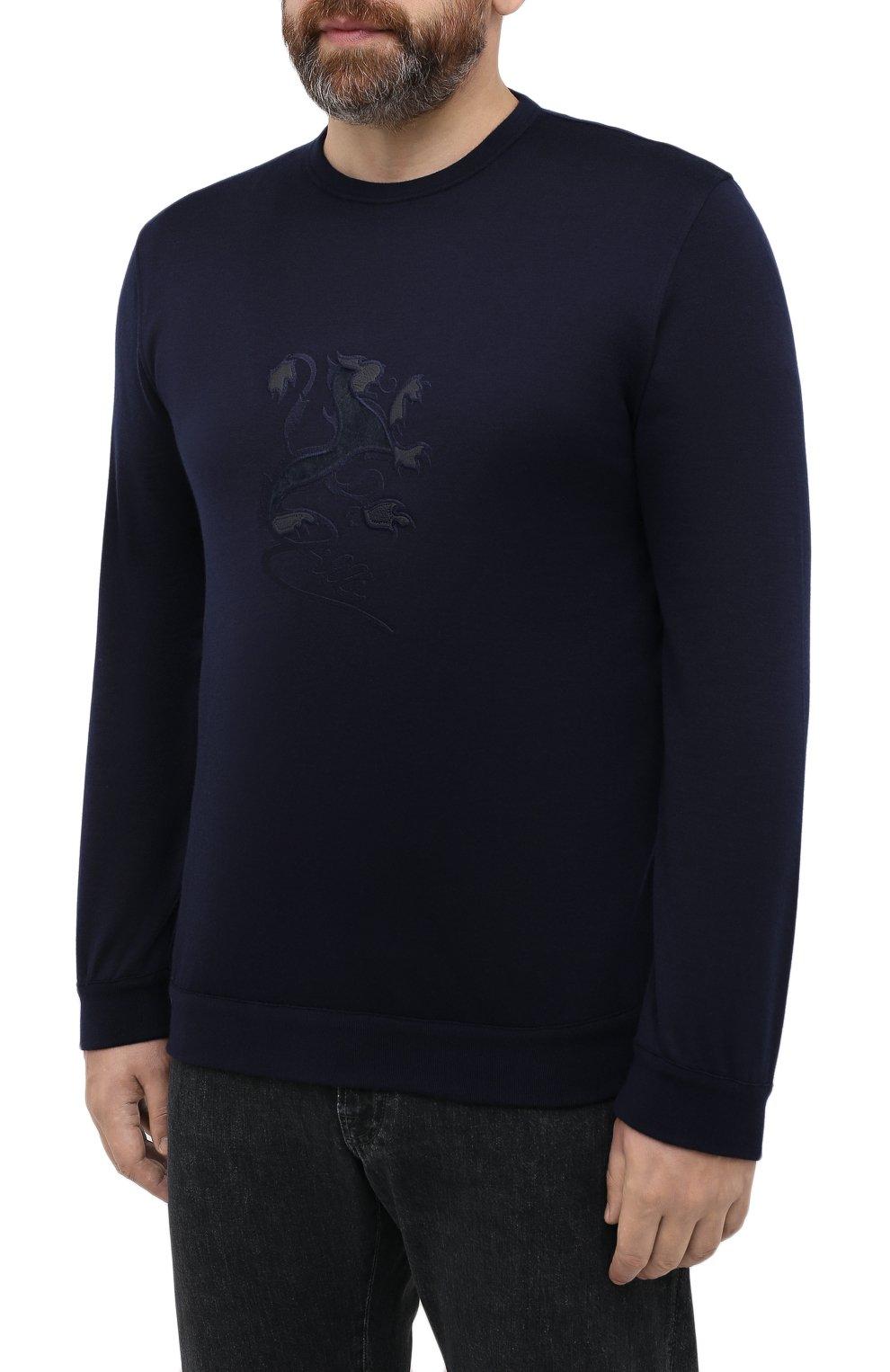 Мужской джемпер из хлопка и кашемира ZILLI темно-синего цвета, арт. MBU-RN140-JEP01/ML01 | Фото 3