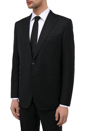 Мужской шерстяной костюм ZILLI черного цвета, арт. MMU-P242Z-00513/0001   Фото 2 (Материал подклада: Купро; Материал внешний: Шерсть; Рукава: Длинные; Костюмы М: Однобортный; Стили: Классический)