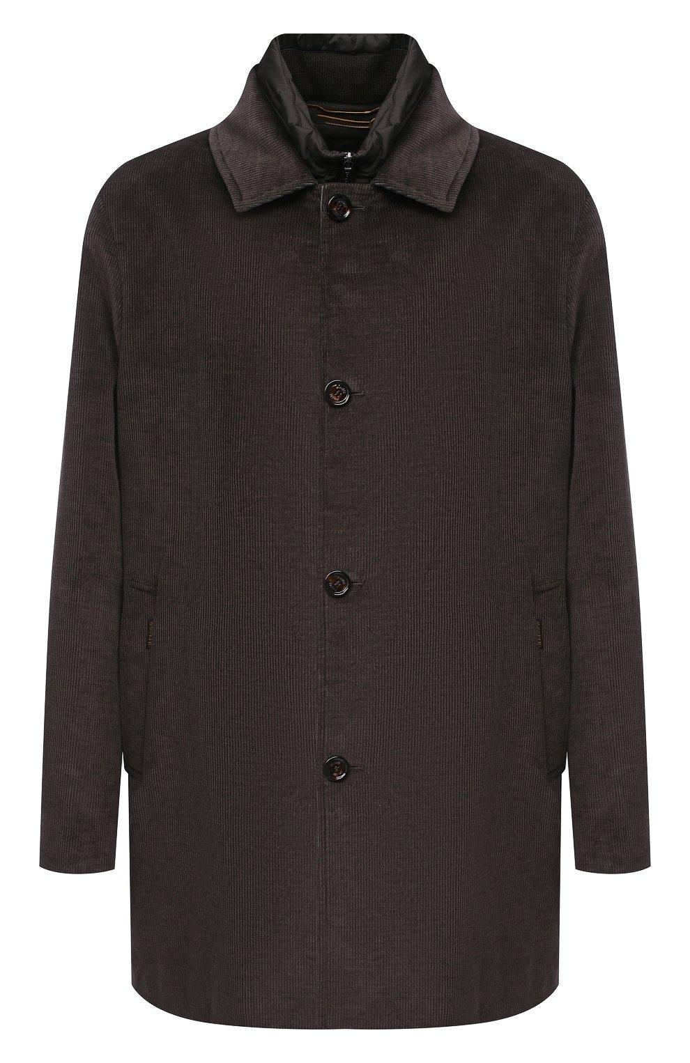 Мужской утепленное пальто из хлопка и шерсти MOORER темно-коричневого цвета, арт. M0NFERRAT0-LUS/A20M910LUSC   Фото 1 (Кросс-КТ: Куртка; Big sizes: Big Sizes; Рукава: Длинные; Материал внешний: Хлопок; Мужское Кросс-КТ: Куртка-верхняя одежда, Верхняя одежда, пальто-верхняя одежда; Материал подклада: Синтетический материал; Стили: Кэжуэл)