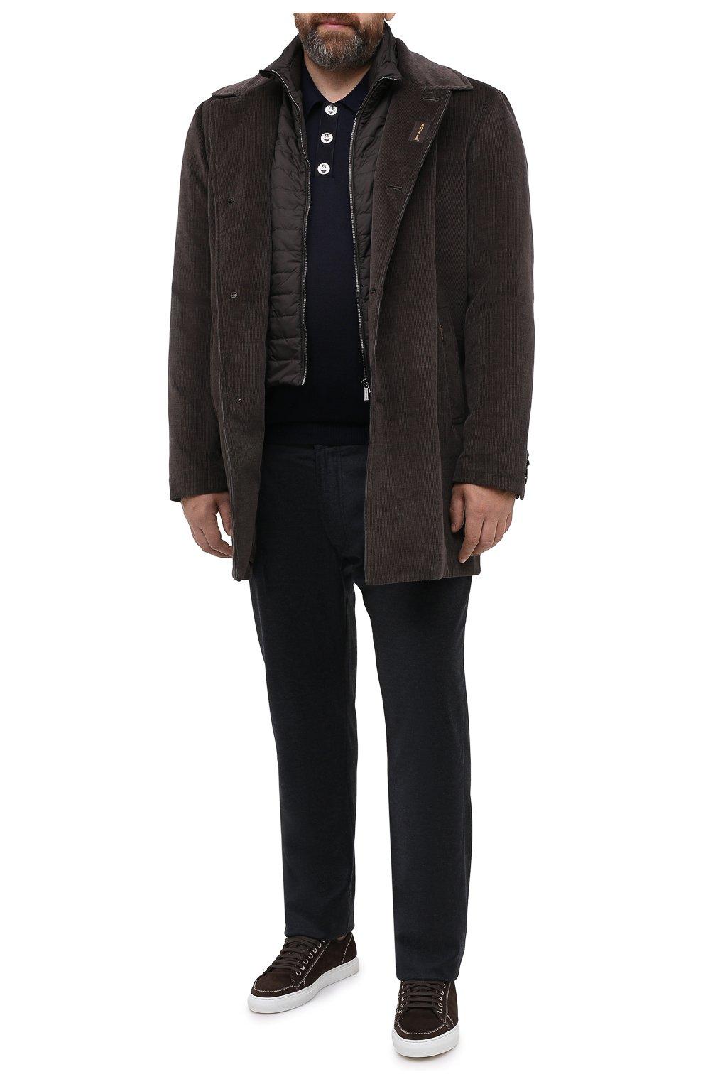 Мужской утепленное пальто из хлопка и шерсти MOORER темно-коричневого цвета, арт. M0NFERRAT0-LUS/A20M910LUSC   Фото 2 (Кросс-КТ: Куртка; Big sizes: Big Sizes; Рукава: Длинные; Материал внешний: Хлопок; Мужское Кросс-КТ: Куртка-верхняя одежда, Верхняя одежда, пальто-верхняя одежда; Материал подклада: Синтетический материал; Стили: Кэжуэл)